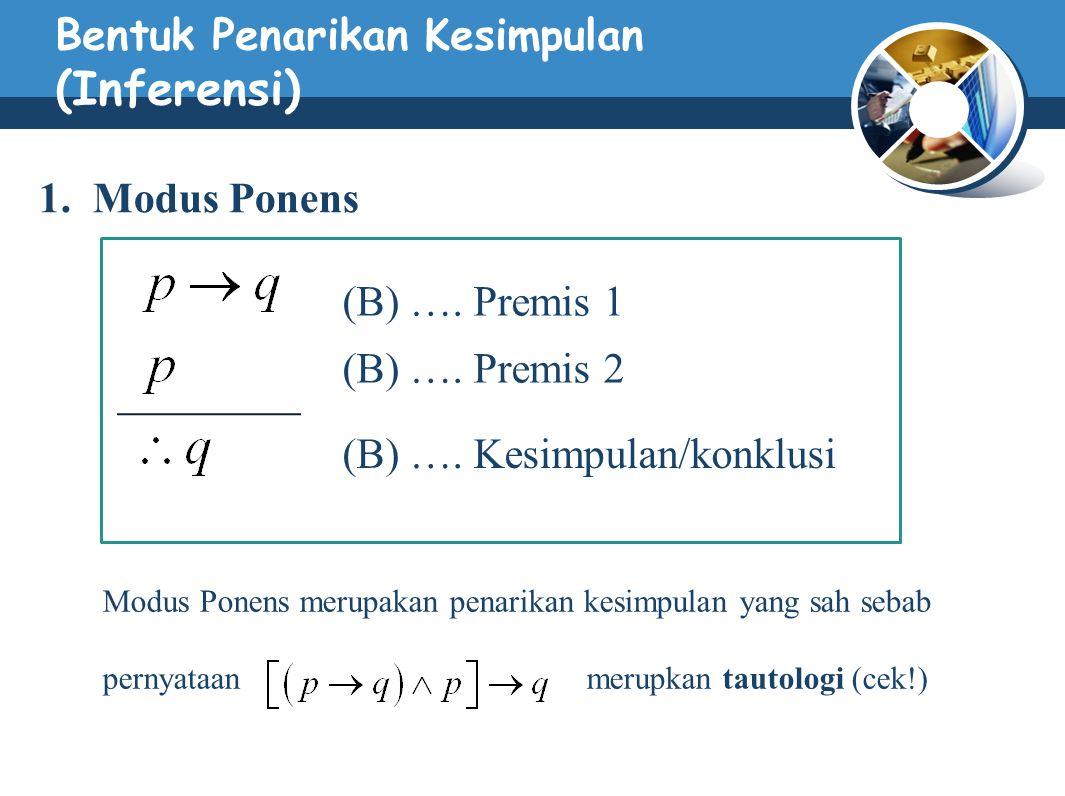 Bentuk Penarikan Kesimpulan (Inferensi) 1. Modus Ponens (B) …. Premis 1 (B) …. Premis 2 (B) …. Kesimpulan/konklusi Modus Ponens merupakan penarikan ke