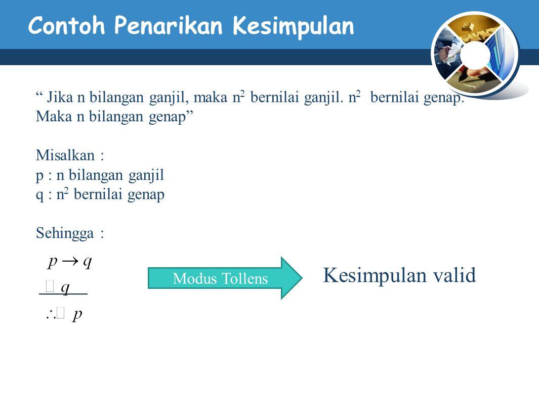 """Contoh Penarikan Kesimpulan """" Jika n bilangan ganjil, maka n 2 bernilai ganjil. n 2 bernilai genap. Maka n bilangan genap"""" Misalkan : p : n bilangan g"""