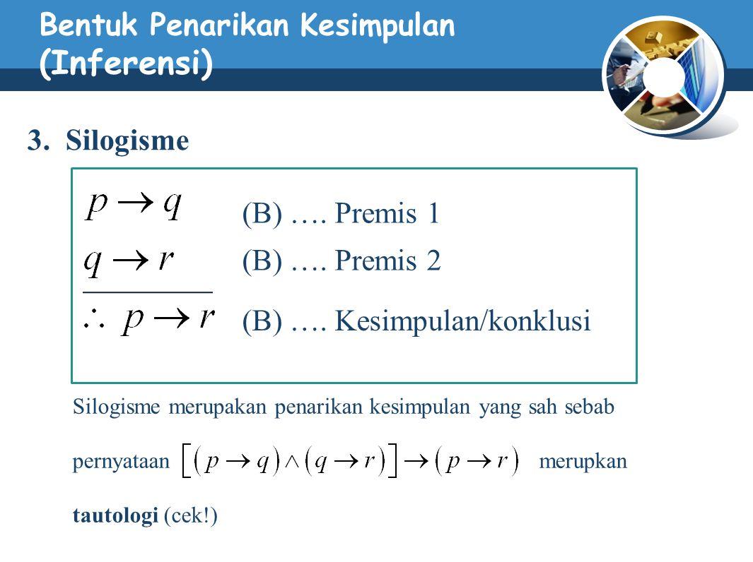 Bentuk Penarikan Kesimpulan (Inferensi) 3. Silogisme (B) …. Premis 1 (B) …. Premis 2 (B) …. Kesimpulan/konklusi Silogisme merupakan penarikan kesimpul
