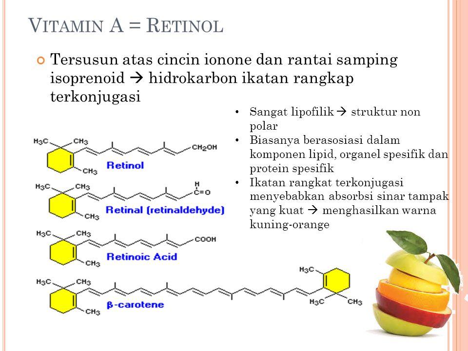 V ITAMIN A = R ETINOL Tersusun atas cincin ionone dan rantai samping isoprenoid  hidrokarbon ikatan rangkap terkonjugasi Sangat lipofilik  struktur