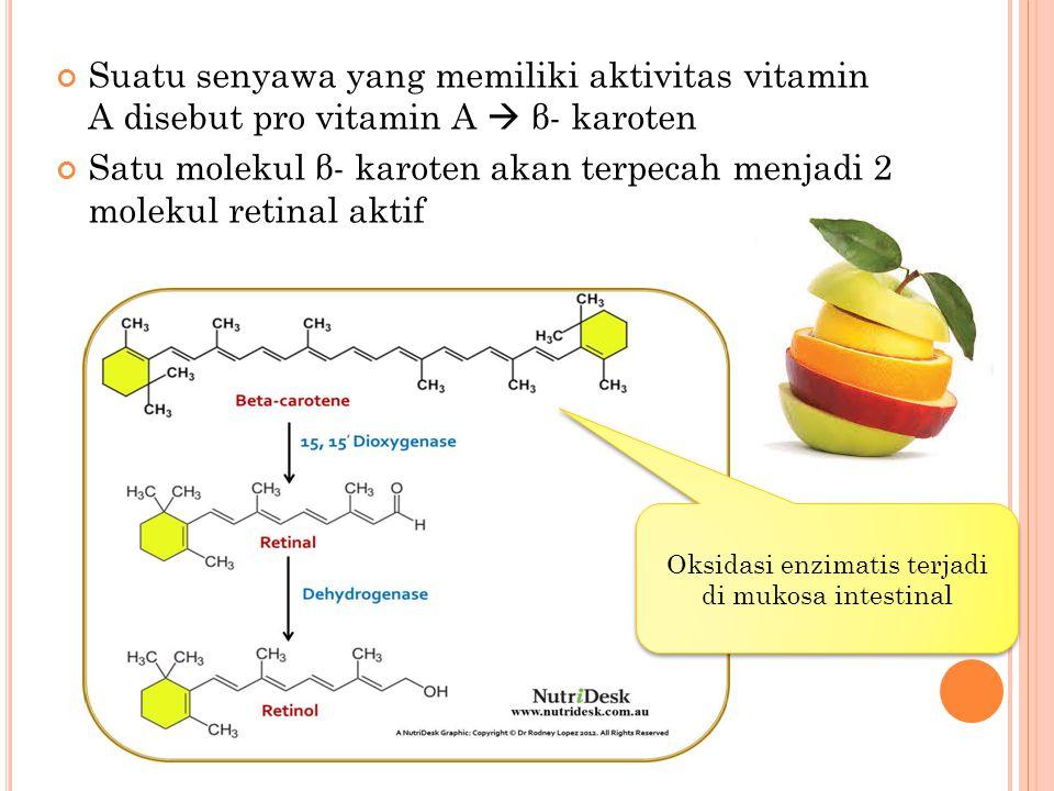 Suatu senyawa yang memiliki aktivitas vitamin A disebut pro vitamin A  β- karoten Satu molekul β- karoten akan terpecah menjadi 2 molekul retinal akt