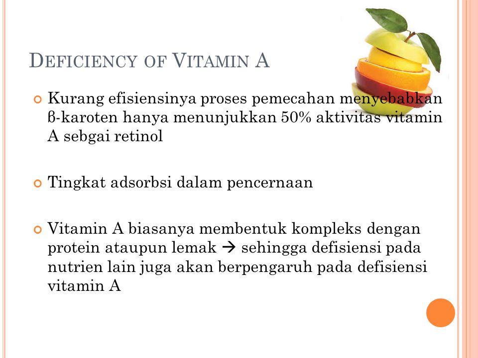 D EFICIENCY OF V ITAMIN A Kurang efisiensinya proses pemecahan menyebabkan β-karoten hanya menunjukkan 50% aktivitas vitamin A sebgai retinol Tingkat