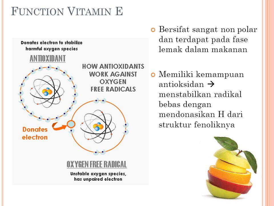 F UNCTION V ITAMIN E Bersifat sangat non polar dan terdapat pada fase lemak dalam makanan Memiliki kemampuan antioksidan  menstabilkan radikal bebas