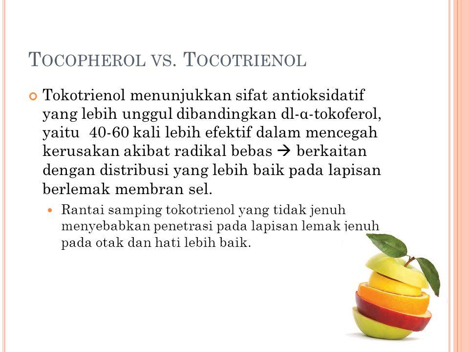 T OCOPHEROL VS. T OCOTRIENOL Tokotrienol menunjukkan sifat antioksidatif yang lebih unggul dibandingkan dl-α-tokoferol, yaitu 40-60 kali lebih efektif