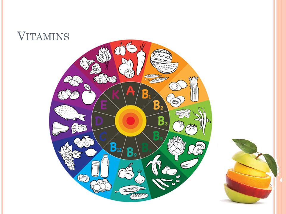 C ONVERSION F ACTOR Konversi dari karotenoid ke vitamin A 1 mg retinol = 1 mg retinol equivalent (RE) 1 mg retinol = 6 mg all trans β- karoten 1 mg retinol = 12 mg pro-vitamin A karotenoid 1,15 mg all-trans-retinil asetat = 1,83 mg all-trans- retinil palmitat Retinil asetat dan retinil palmitat merupakan Vitamin A sintetik yang banyak digunakan untuk fortifikasi Konversi dari mg ke IU (International Unit) 1 IU = 0,34 µg retinol