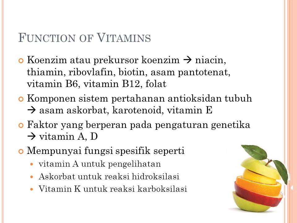 F UNCTION OF V ITAMINS Koenzim atau prekursor koenzim  niacin, thiamin, ribovlafin, biotin, asam pantotenat, vitamin B6, vitamin B12, folat Komponen