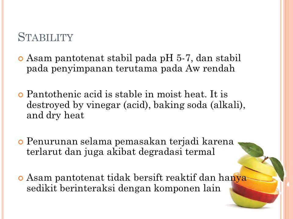S TABILITY Asam pantotenat stabil pada pH 5-7, dan stabil pada penyimpanan terutama pada Aw rendah Pantothenic acid is stable in moist heat. It is des