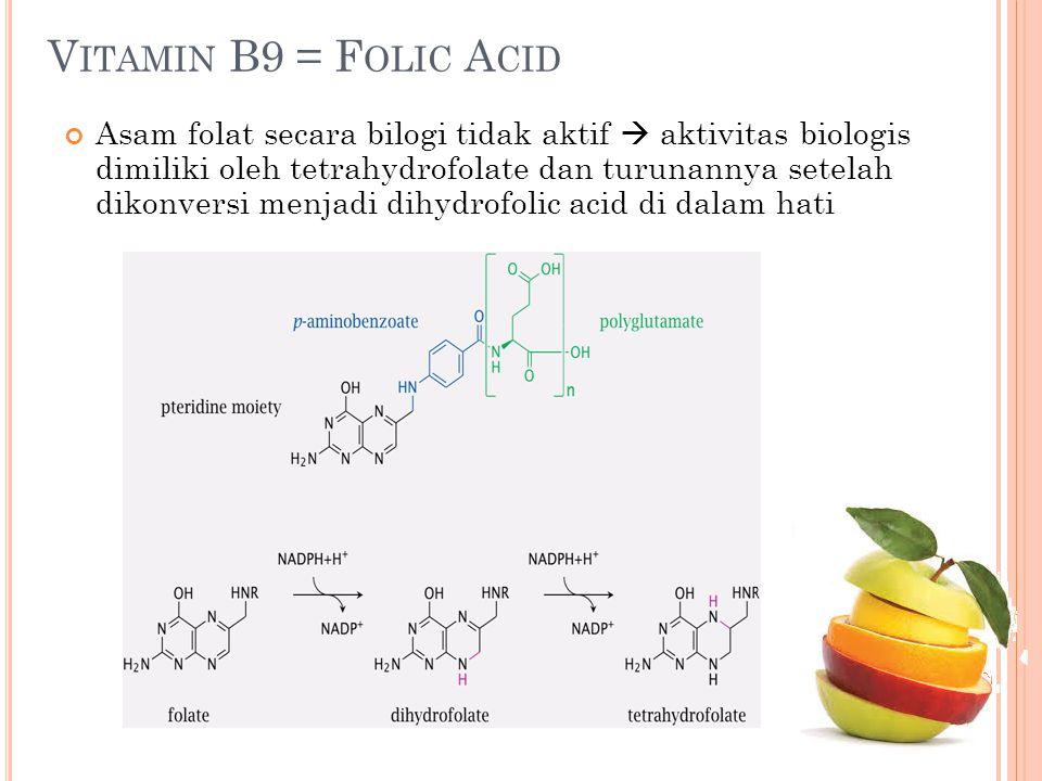 V ITAMIN B9 = F OLIC A CID Asam folat secara bilogi tidak aktif  aktivitas biologis dimiliki oleh tetrahydrofolate dan turunannya setelah dikonversi