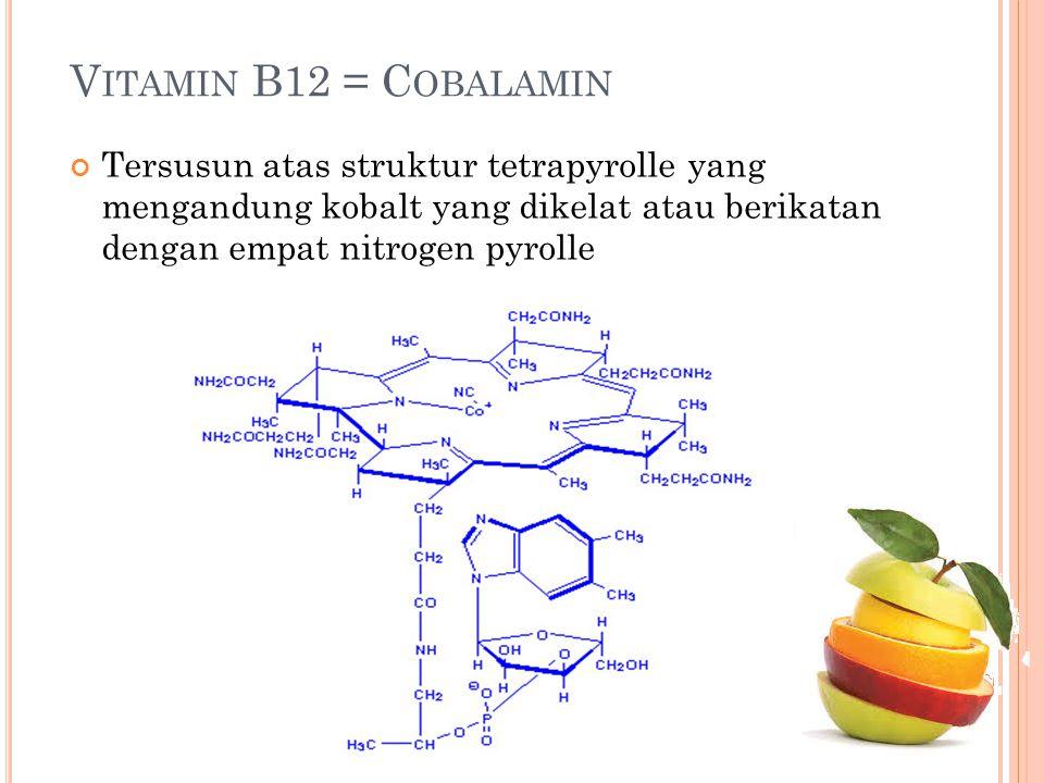 V ITAMIN B12 = C OBALAMIN Tersusun atas struktur tetrapyrolle yang mengandung kobalt yang dikelat atau berikatan dengan empat nitrogen pyrolle