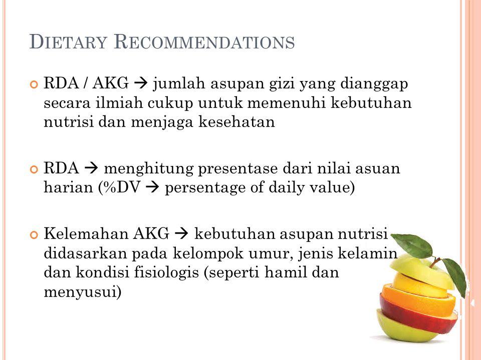 RDA / AKG  jumlah asupan gizi yang dianggap secara ilmiah cukup untuk memenuhi kebutuhan nutrisi dan menjaga kesehatan RDA  menghitung presentase da