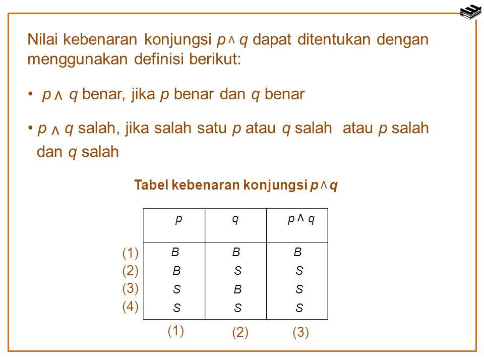 Nilai kebenaran konjungsi p q dapat ditentukan dengan menggunakan definisi berikut: ν p q benar, jika p benar dan q benar ν p q salah, jika salah satu