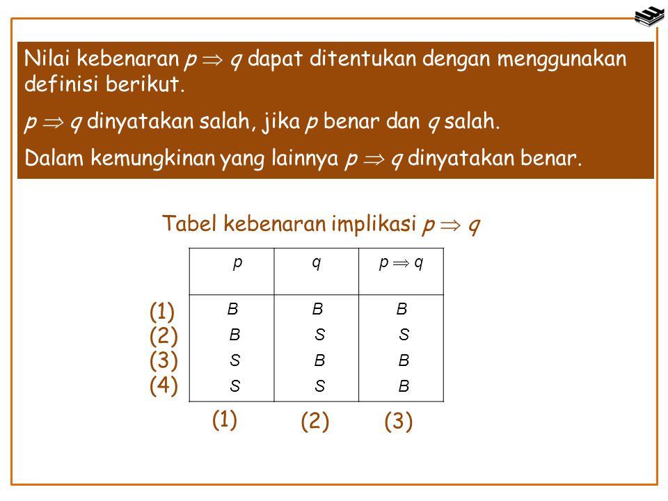 Nilai kebenaran p  q dapat ditentukan dengan menggunakan definisi berikut. p  q dinyatakan salah, jika p benar dan q salah. Dalam kemungkinan yang l