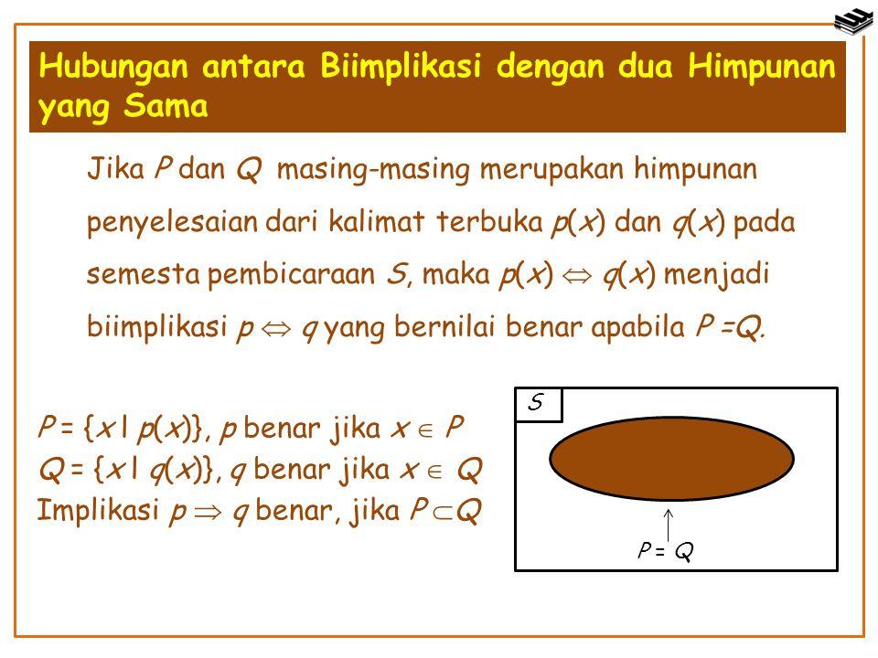 Hubungan antara Biimplikasi dengan dua Himpunan yang Sama Jika P dan Q masing-masing merupakan himpunan penyelesaian dari kalimat terbuka p(x) dan q(x