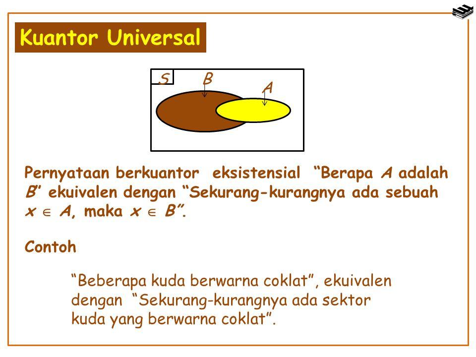 "Kuantor Universal S A B Pernyataan berkuantor eksistensial ""Berapa A adalah B"" ekuivalen dengan ""Sekurang-kurangnya ada sebuah x  A, maka x  B"". Con"