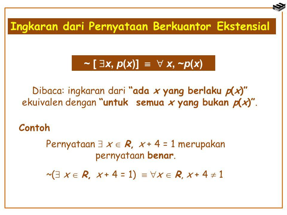 "Ingkaran dari Pernyataan Berkuantor Ekstensial ~ [  x, p(x)]   x, ~p(x) Dibaca: ingkaran dari ""ada x yang berlaku p(x)"" ekuivalen dengan ""untuk sem"