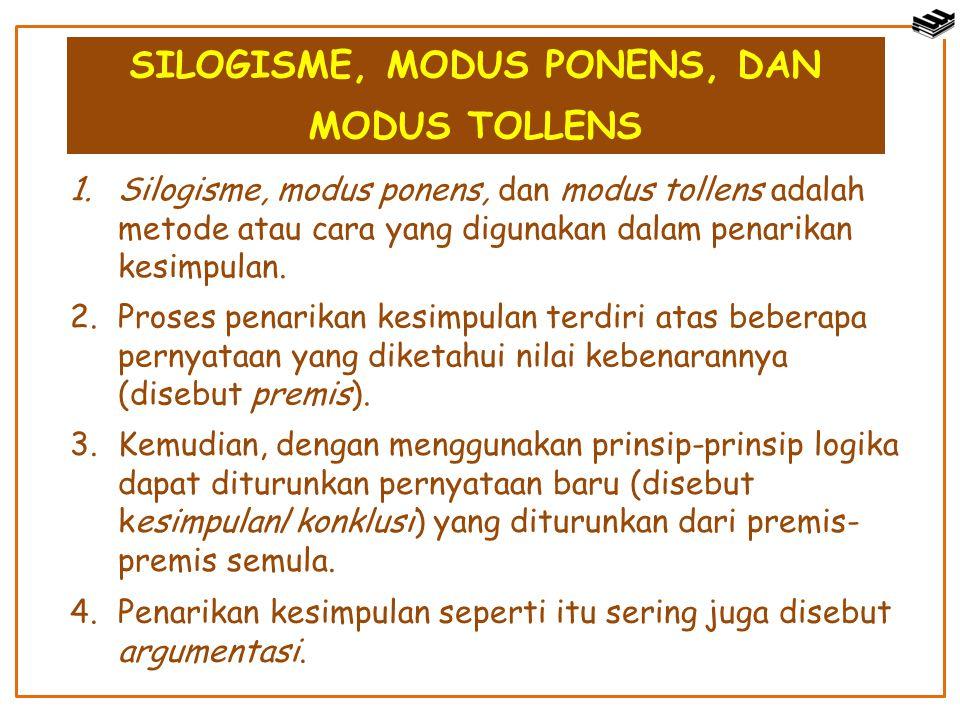 SILOGISME, MODUS PONENS, DAN MODUS TOLLENS 1.Silogisme, modus ponens, dan modus tollens adalah metode atau cara yang digunakan dalam penarikan kesimpu