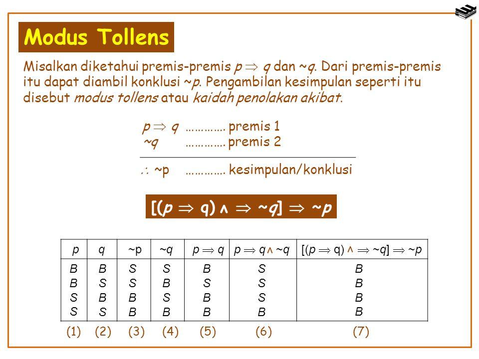 Modus Tollens Misalkan diketahui premis-premis p  q dan ~q. Dari premis-premis itu dapat diambil konklusi ~p. Pengambilan kesimpulan seperti itu dise