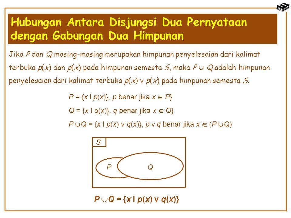 Hubungan Antara Disjungsi Dua Pernyataan dengan Gabungan Dua Himpunan Jika P dan Q masing-masing merupakan himpunan penyelesaian dari kalimat terbuka