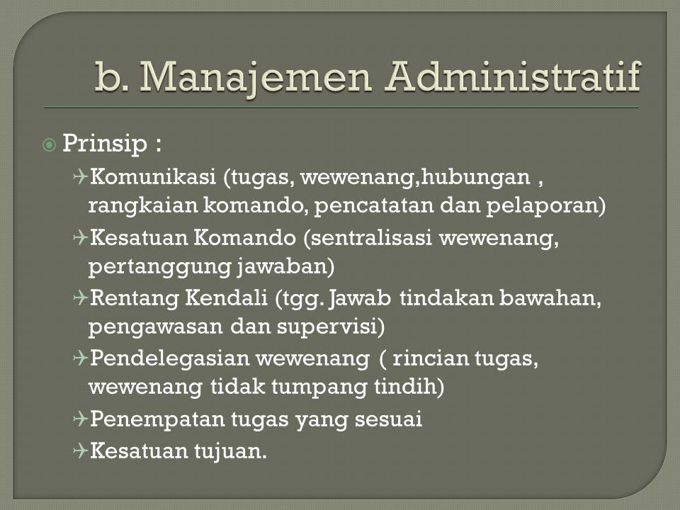  Prinsip :  Komunikasi (tugas, wewenang,hubungan, rangkaian komando, pencatatan dan pelaporan)  Kesatuan Komando (sentralisasi wewenang, pertanggung jawaban)  Rentang Kendali (tgg.