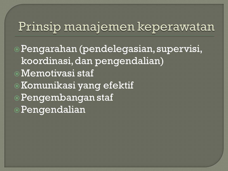  Pengarahan (pendelegasian, supervisi, koordinasi, dan pengendalian)  Memotivasi staf  Komunikasi yang efektif  Pengembangan staf  Pengendalian