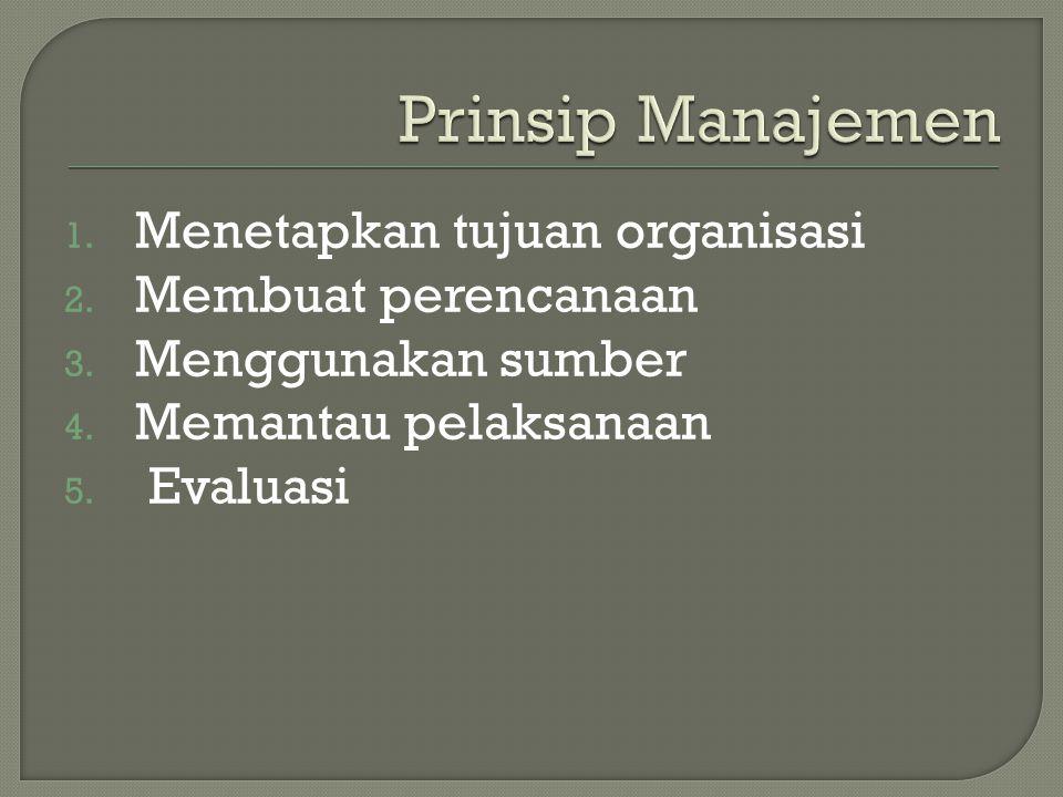 1.Menetapkan tujuan organisasi 2. Membuat perencanaan 3.