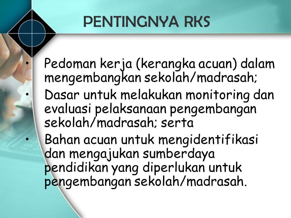 PENTINGNYA RKS Pedoman kerja (kerangka acuan) dalam mengembangkan sekolah/madrasah; Dasar untuk melakukan monitoring dan evaluasi pelaksanaan pengemba
