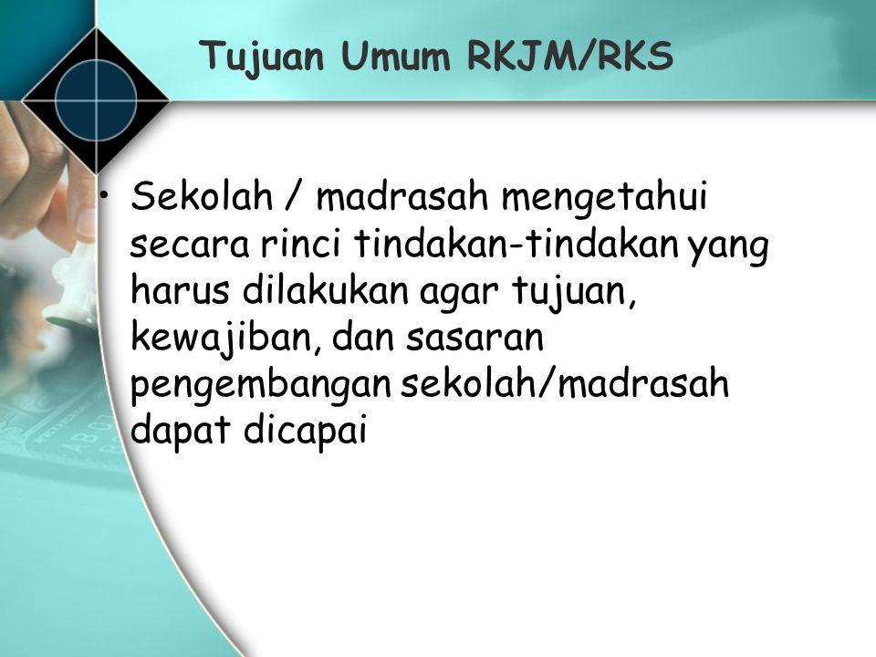 Tujuan Umum RKJM/RKS Sekolah / madrasah mengetahui secara rinci tindakan-tindakan yang harus dilakukan agar tujuan, kewajiban, dan sasaran pengembanga
