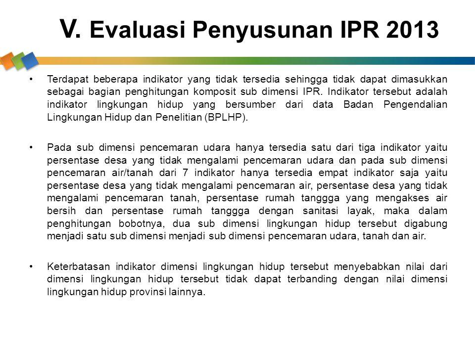 V. Evaluasi Penyusunan IPR 2013 Terdapat beberapa indikator yang tidak tersedia sehingga tidak dapat dimasukkan sebagai bagian penghitungan komposit s