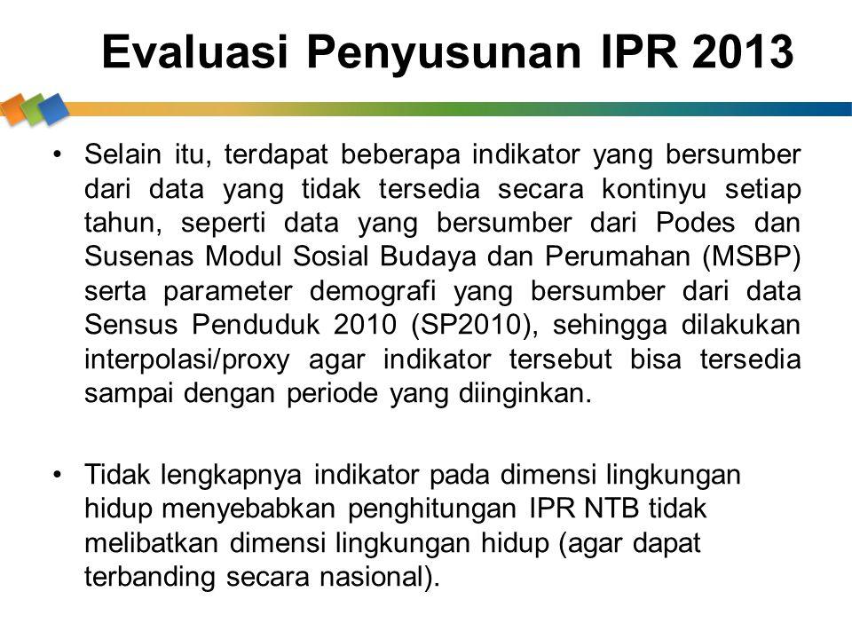 Evaluasi Penyusunan IPR 2013 Selain itu, terdapat beberapa indikator yang bersumber dari data yang tidak tersedia secara kontinyu setiap tahun, sepert