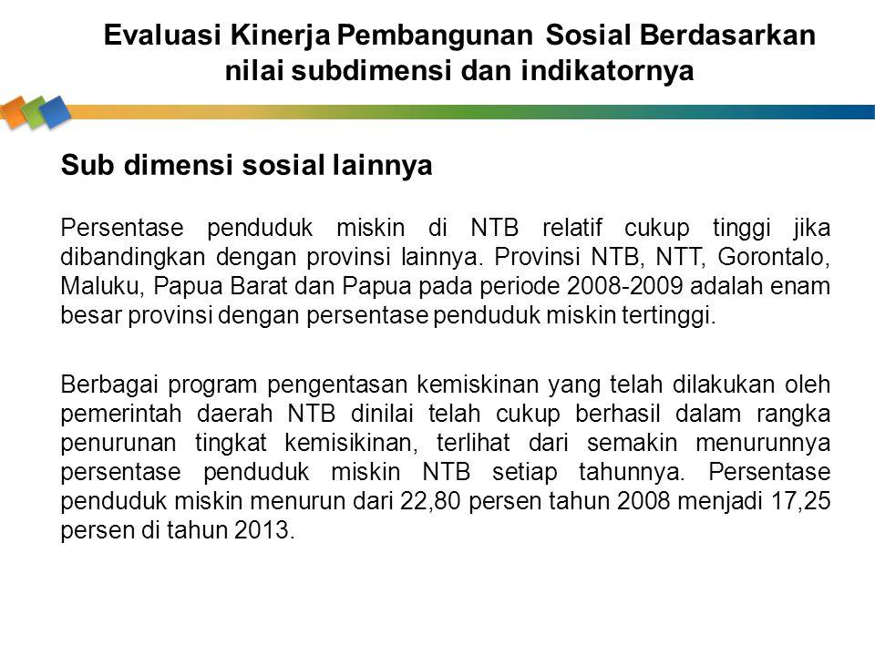 Sub dimensi sosial lainnya Persentase penduduk miskin di NTB relatif cukup tinggi jika dibandingkan dengan provinsi lainnya. Provinsi NTB, NTT, Goront