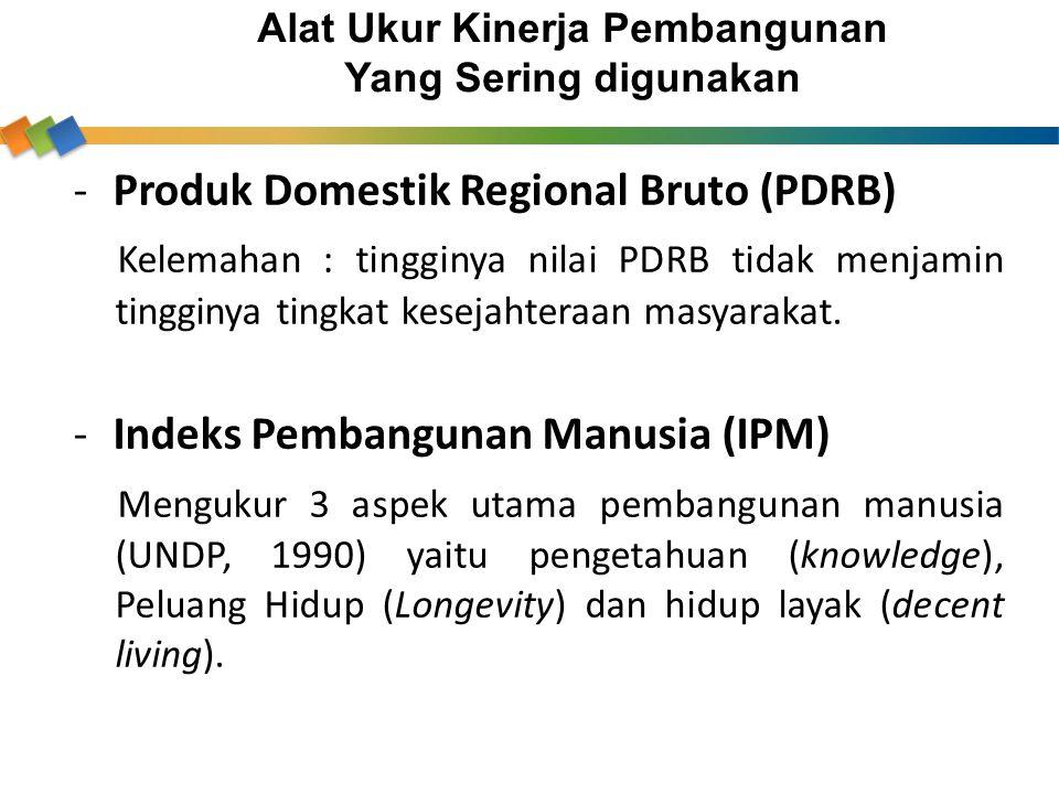 -Produk Domestik Regional Bruto (PDRB) Kelemahan : tingginya nilai PDRB tidak menjamin tingginya tingkat kesejahteraan masyarakat. -Indeks Pembangunan