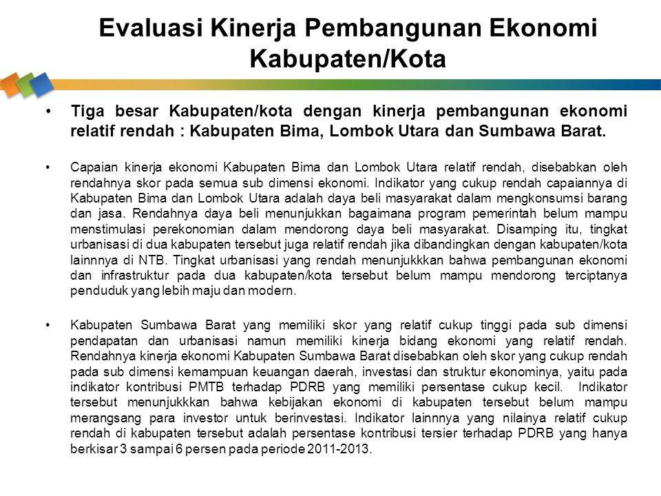 Tiga besar Kabupaten/kota dengan kinerja pembangunan ekonomi relatif rendah : Kabupaten Bima, Lombok Utara dan Sumbawa Barat. Capaian kinerja ekonomi