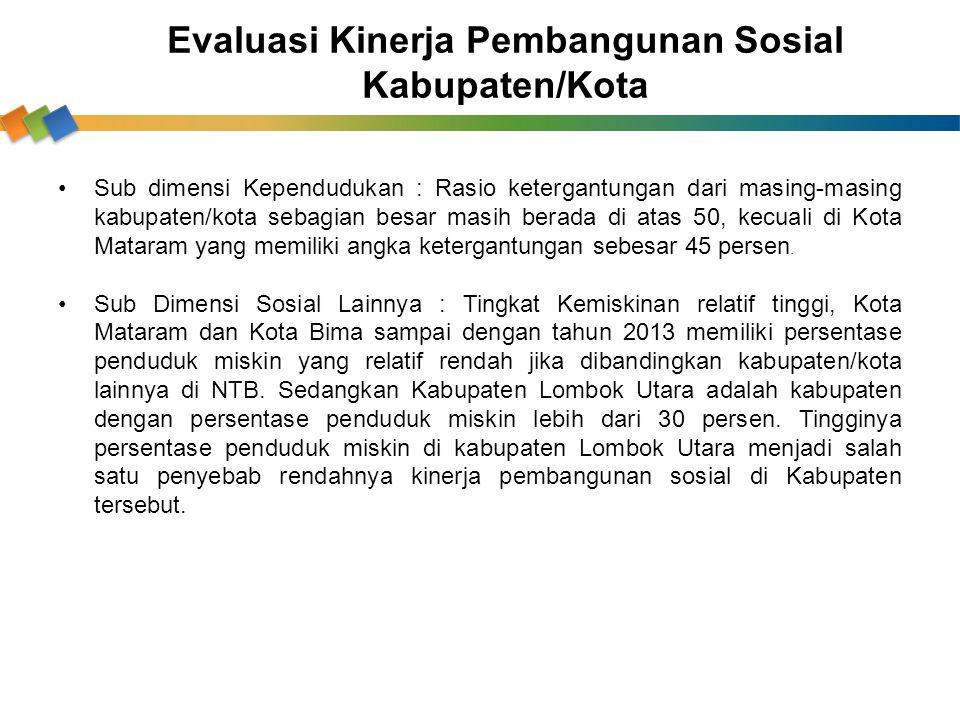 Sub dimensi Kependudukan : Rasio ketergantungan dari masing-masing kabupaten/kota sebagian besar masih berada di atas 50, kecuali di Kota Mataram yang