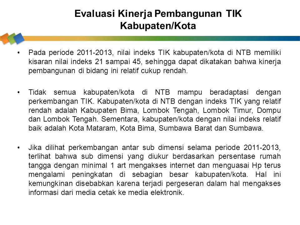 Pada periode 2011-2013, nilai indeks TIK kabupaten/kota di NTB memiliki kisaran nilai indeks 21 sampai 45, sehingga dapat dikatakan bahwa kinerja pemb