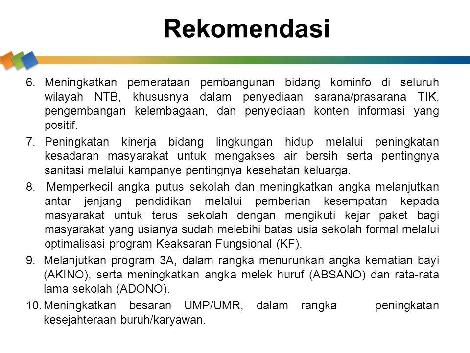 6.Meningkatkan pemerataan pembangunan bidang kominfo di seluruh wilayah NTB, khususnya dalam penyediaan sarana/prasarana TIK, pengembangan kelembagaan