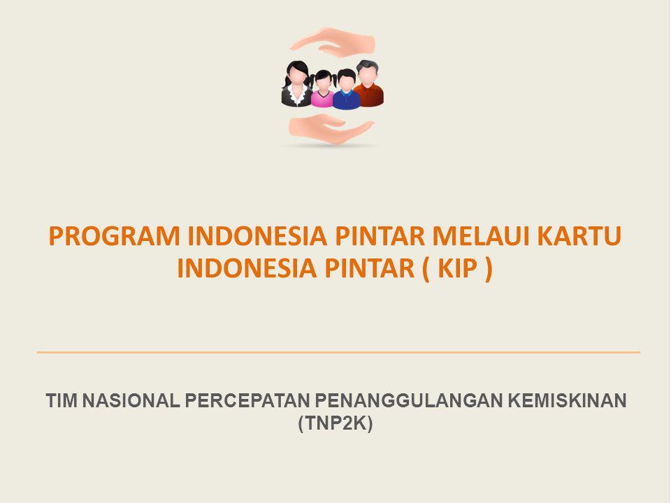 1 TIM NASIONAL PERCEPATAN PENANGGULANGAN KEMISKINAN (TNP2K) PROGRAM INDONESIA PINTAR MELAUI KARTU INDONESIA PINTAR ( KIP )