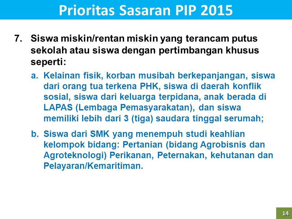 14 Prioritas Sasaran PIP 201514 7.Siswa miskin/rentan miskin yang terancam putus sekolah atau siswa dengan pertimbangan khusus seperti: a.Kelainan fis