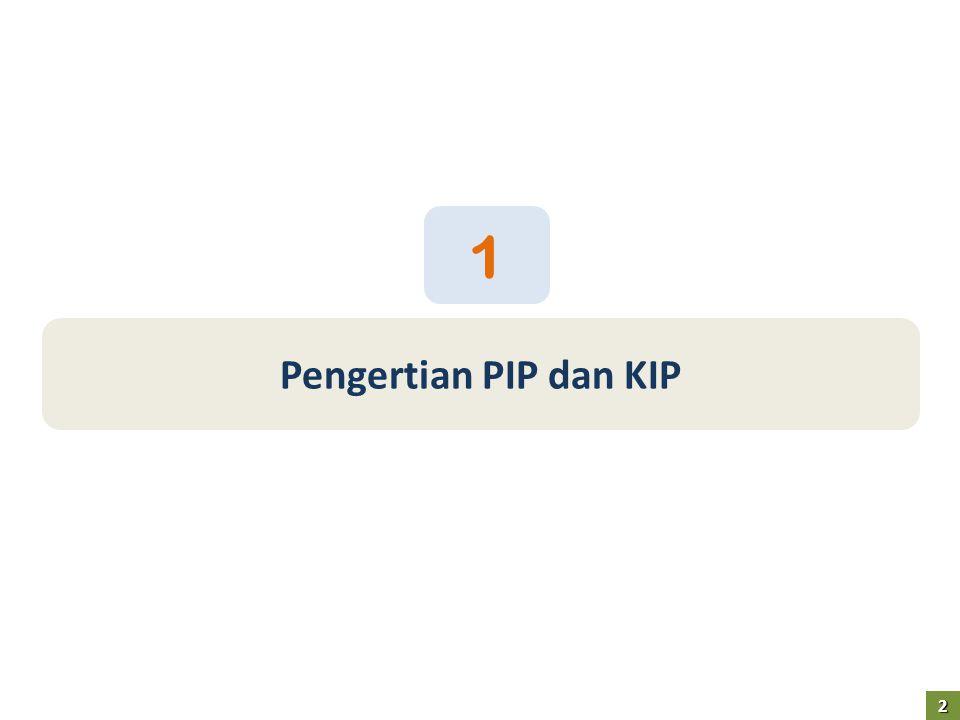 3 PIP melalui KIP 3 1.Program Indonesia Pintar (PIP) adalah Program bantuan uang tunai bagi anak usia sekolah dari keluarga pemegang Kartu Keluarga Sejahtera (KKS), atau yang memenuhi kriteria sebagaimana ditetapkan sebelumnya 2.Kartu Indonesia Pintar (KIP) adalah kartu yang diberikan kepada anak yang berusia 5 hingga 21 tahun dari keluarga pemegang KKS, sebagai penanda/identitas untuk mendapatkan manfaat PIP bila terdaftar di sekolah/madrasah,pondok pesantren, kejar paket A/B/C atau lembaga pelatihan maupun kursus
