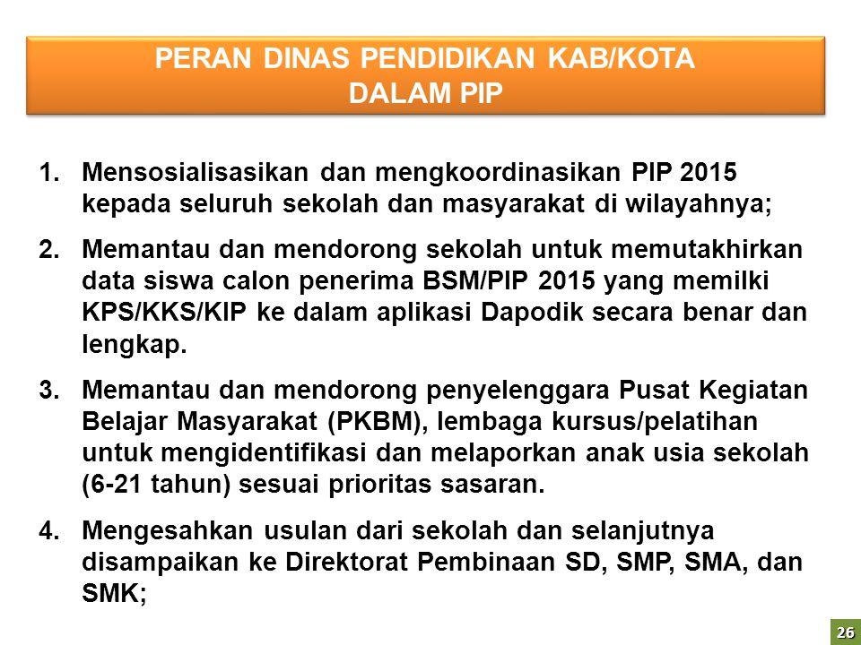 26 1.Mensosialisasikan dan mengkoordinasikan PIP 2015 kepada seluruh sekolah dan masyarakat di wilayahnya; 2.Memantau dan mendorong sekolah untuk memu