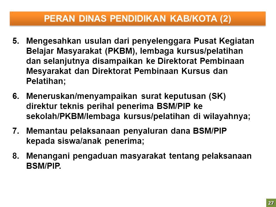 27 5.Mengesahkan usulan dari penyelenggara Pusat Kegiatan Belajar Masyarakat (PKBM), lembaga kursus/pelatihan dan selanjutnya disampaikan ke Direktora