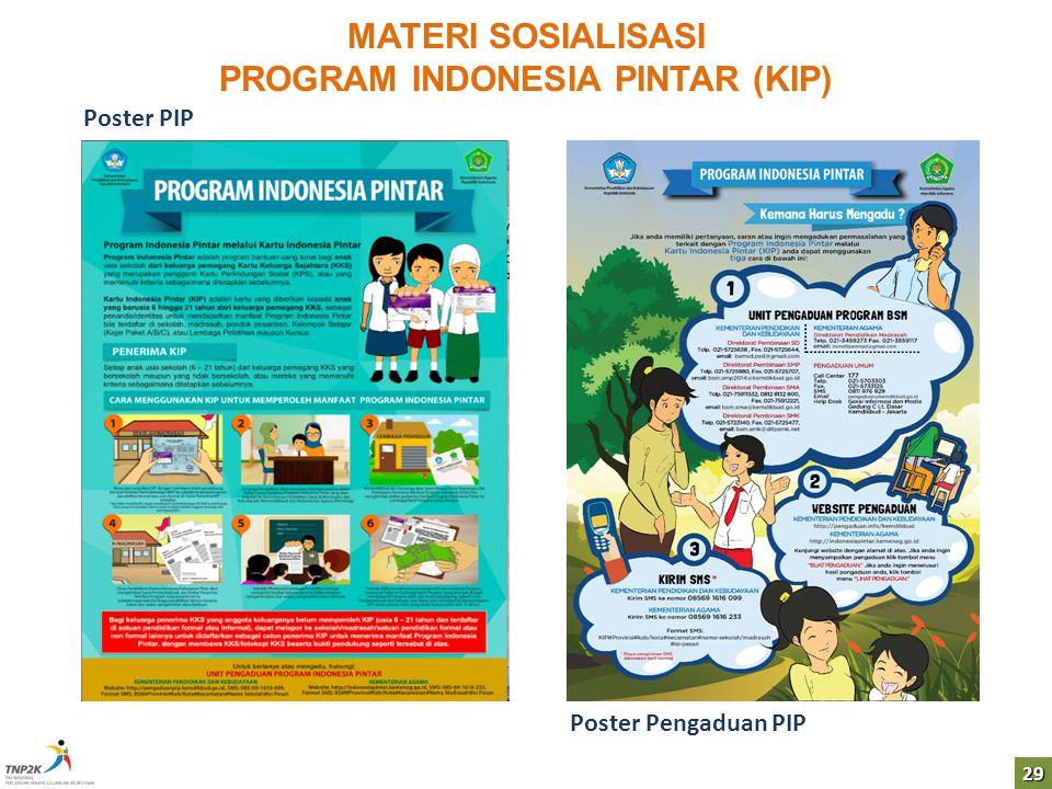 29 MATERI SOSIALISASI PROGRAM INDONESIA PINTAR (KIP) Poster Pengaduan PIP Poster PIP