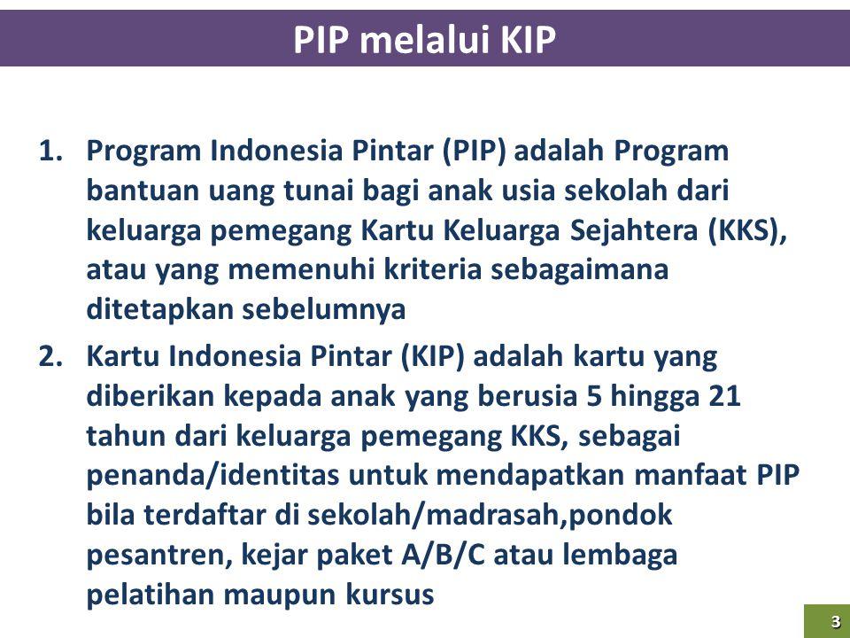 3 PIP melalui KIP 3 1.Program Indonesia Pintar (PIP) adalah Program bantuan uang tunai bagi anak usia sekolah dari keluarga pemegang Kartu Keluarga Se