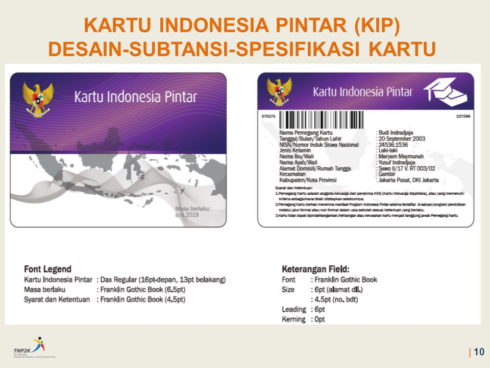 KARTU INDONESIA PINTAR (KIP) DESAIN-SUBTANSI-SPESIFIKASI KARTU   10