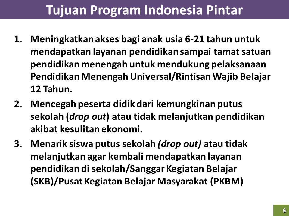 6 Tujuan Program Indonesia Pintar6 1.Meningkatkan akses bagi anak usia 6-21 tahun untuk mendapatkan layanan pendidikan sampai tamat satuan pendidikan
