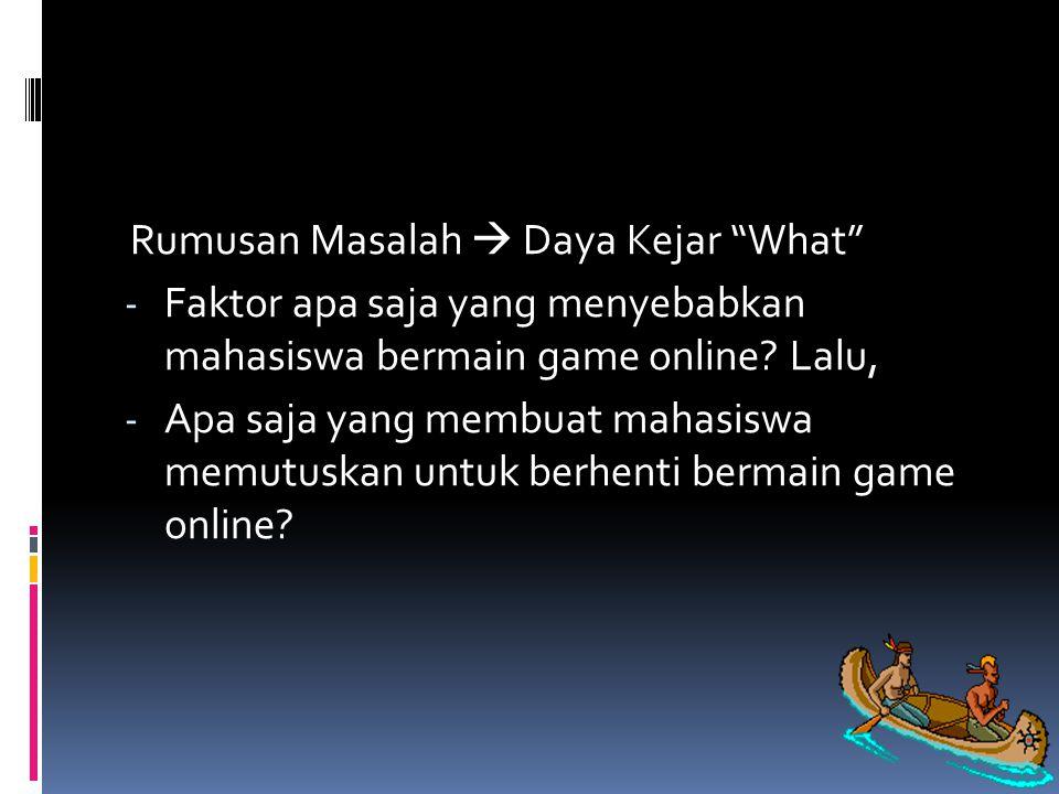 Rumusan Masalah  Daya Kejar What - Faktor apa saja yang menyebabkan mahasiswa bermain game online.