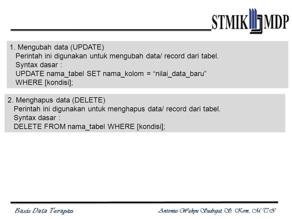 Basis Data Terapan Antonius Wahyu Sudrajat, S. Kom., M.T.I 1.