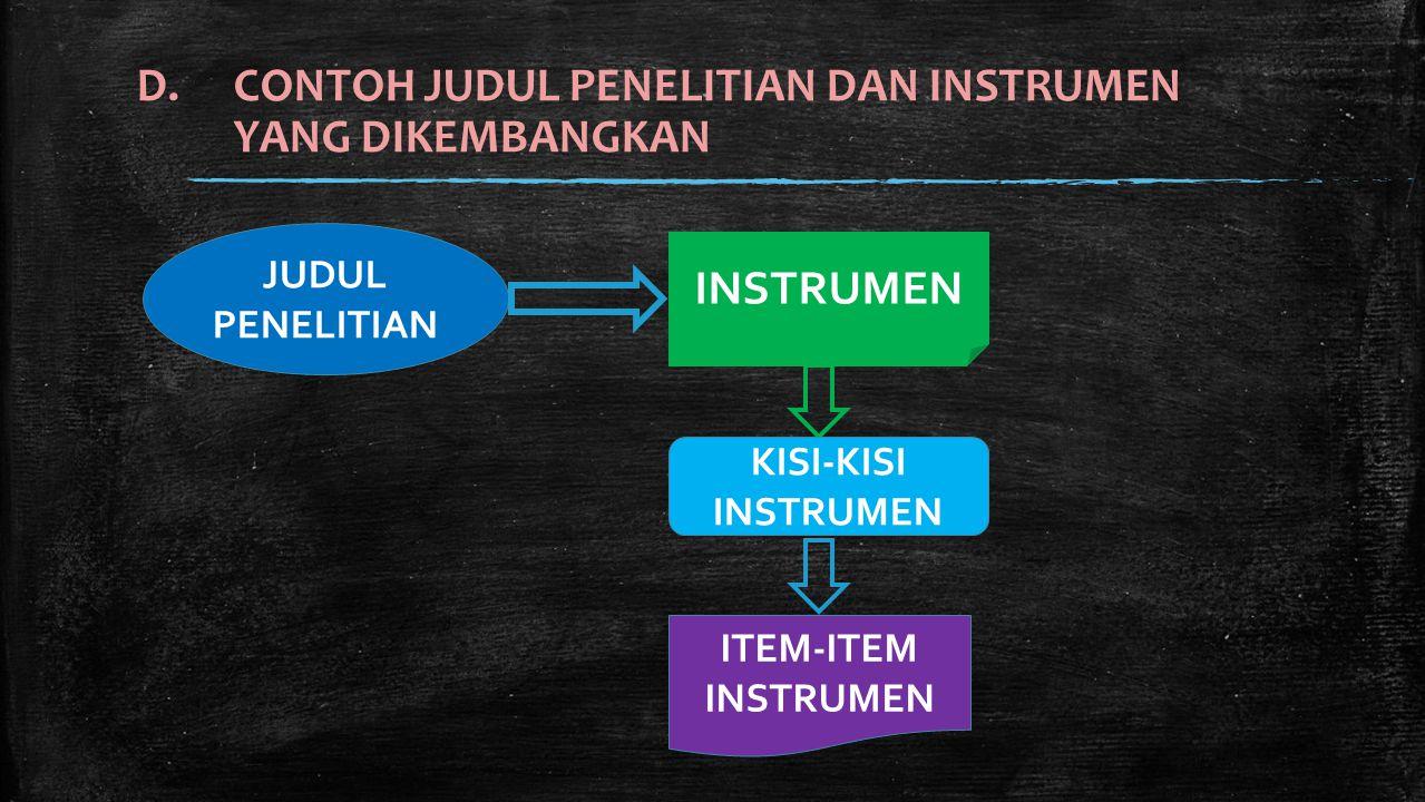 ▪ Judul Penelitian : GAYA DAN SITUASI KEPEMIMPINAN SERTA PENGARUHNYA TERHADAP IKLIM KERJA ORGANISASI ▪ Judul tersebut terdiri atas dua variable independen (Gaya, Situasi Kepemimpinan) dan satu variable dependen (Iklim Kerja) ▪ Masing-masing instrumennya adalah : 1.Instrumen untuk mengukur variabel gaya kepemimpinan 2.Instrumen untuk mengukur variabel situasi kepemimpinan 3.Instrumen untuk mengukur variabel iklim kerja organisasi Judul Penelitian dan Instrumen yang digunakan