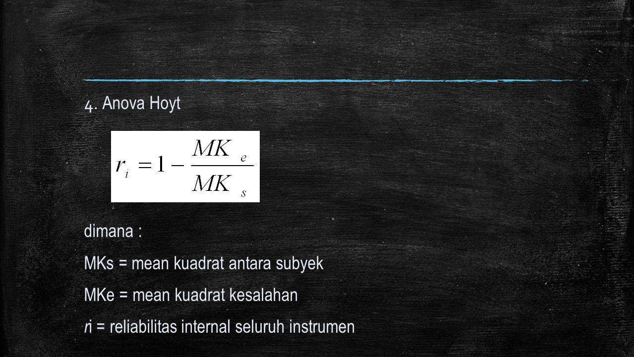 4. Anova Hoyt dimana : MKs = mean kuadrat antara subyek MKe = mean kuadrat kesalahan r i = reliabilitas internal seluruh instrumen