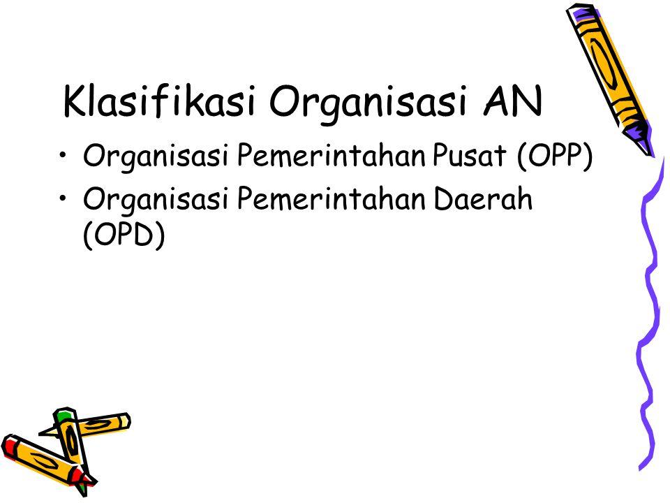 Klasifikasi Organisasi AN Organisasi Pemerintahan Pusat (OPP) Organisasi Pemerintahan Daerah (OPD)