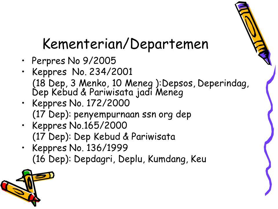 Kementerian/Departemen Perpres No 9/2005 Keppres No. 234/2001 (18 Dep, 3 Menko, 10 Meneg ):Depsos, Deperindag, Dep Kebud & Pariwisata jadi Meneg Keppr